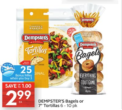 Dempster's Bagels or 7'' Tortillas - 25 Air Miles Bonus Miles