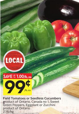 Field Tomatoes or Seedless Cucumbers