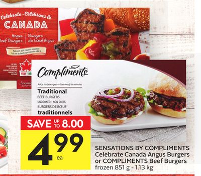 Sensations By Compliments Celebrate Canada Angus Burgers or Compliments Beef Burgers
