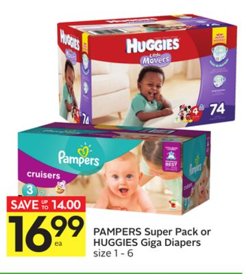 Pampers Super Pack or Huggies Giga Diapers