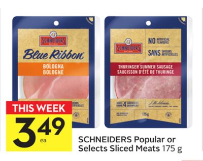Schneiders Popular or Selects Sliced Meats