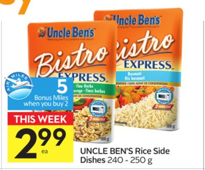 Uncle Ben's Rice Side Dishes - 5 Air Miles Bonus Miles