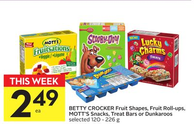 Betty Crocker Fruit Shapes - Fruit Roll-ups - Mott's Snacks - Treat Bars or Dunkaroos
