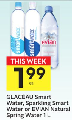 Glacéau Smart Water - Sparkling Smart Water or Evian Natural Spring Water