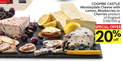 Coombe Castle Wensleydale Cheese With Lemon - Blueberries or Cherries