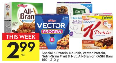 Special K Protein - Nourish - Vector Protein - Nutri-grain Fruit & Nut - All-bran or Kashi Bars