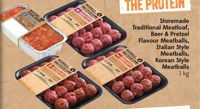 The Protein Storemade Traditional Meatloaf - Beer & Pretzel Flavour Meatballs - Italian Style Meatballs - Korean Style Meatballs 1 Kg