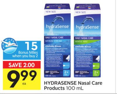 Hydrasense Nasal Care Products - 15 Air Miles Bonus Miles
