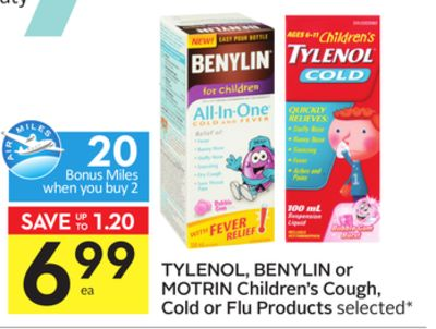 Tylenol - Benylin or Motrin Children's Cough - Cold or Flu Products - 20 Air Miles Bonus Miles