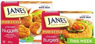 Janes Pub Style Strips - Nuggets - Burgers or Popcorn Chicken