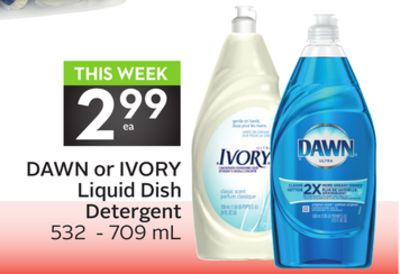 Dawn or Ivory Liquid Dish Detergent