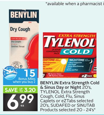 Benylin Extra Strength Cold & Sinus Day or Night - 15 Air Miles Bonus Miles