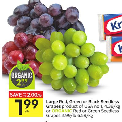 Large Red - Green or Black Seedless Grapes