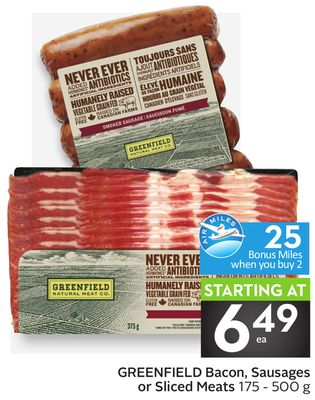 Greenfield Bacon - Sausages or Sliced Meats - 25 Air Miles Bonus Miles