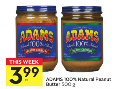 Adams 100% Natural Peanut Butter
