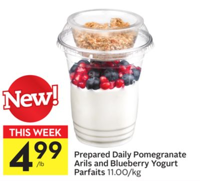 Prepared Daily Pomegranate Arils and Blueberry Yogurt Parfaits