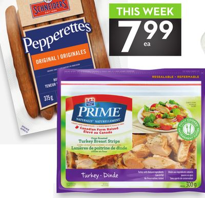 Schneiders Pepperettes or Maple Leaf Prime Chicken or Turkey Breast Strips
