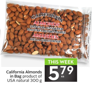 California Almonds In Bag