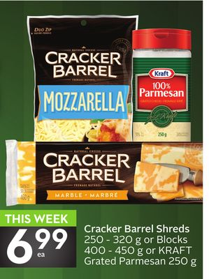 Cracker Barrel Shreds 250 - 320 g or Blocks 400 - 450 g or Kraft Grated Parmesan 250 g