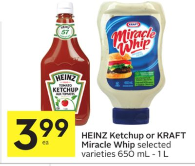 heinz ketchup or kraft miracle whip on sale. Black Bedroom Furniture Sets. Home Design Ideas