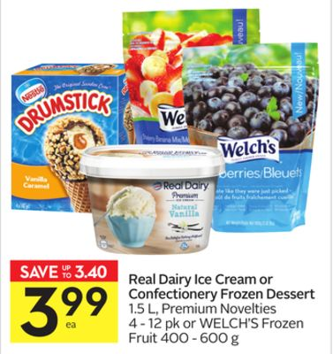 Real Dairy Ice Cream or Confectionery Frozen Dessert