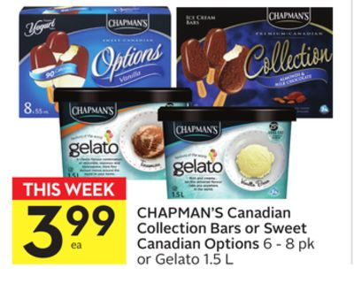 Chapman's Canadian Collection Bars or Sweet Canadian Options