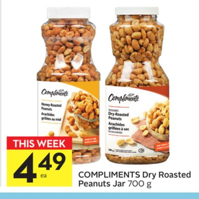 Compliments Dry Roasted Peanuts Jar
