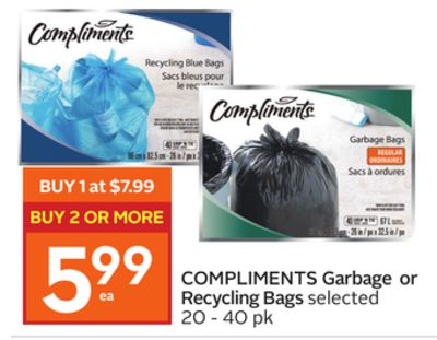 Compliments Garbage or Recycling Bags