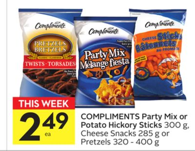 Compliments Party Mix or Potato Hickory Sticks