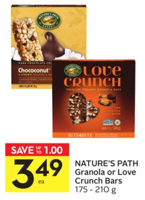 Nature's Path Granola or Love Crunch Bars