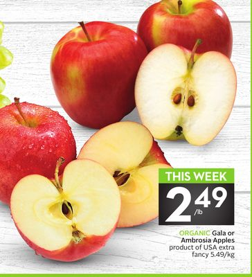 Organic Gala or Ambrosia Apples