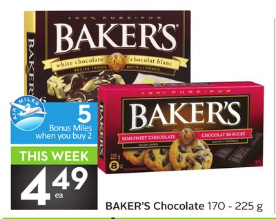 Baker's Chocolate -5 Air Miles Bonus Miles
