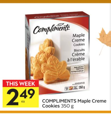 Compliments Maple Creme Cookies