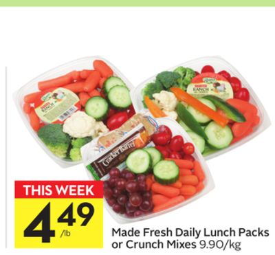 Made Fresh Daily Lunch Packs or Crunch Mixes