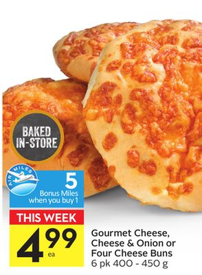 Gourmet Cheese - Cheese & Onion or Four Cheese Buns - 5 Air Miles Bonus Miles