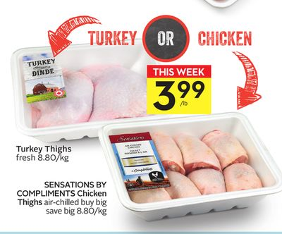 Turkey Thighs Fresh 8.80/kg or Sensations By Compliments Chicken Thighs Air-chilled Buy Big