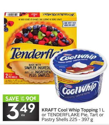 Kraft Cool Whip Topping 1 L or Tenderflake Pie - Tart or Pastry Shells 225 - 397 g