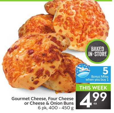 Gourmet Cheese - Four Cheese or Cheese & Onion Buns - 5 Air Miles Bonus Miles