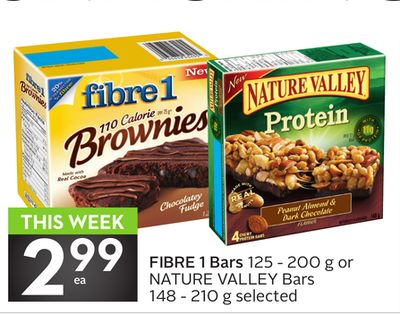 Fibre 1 Bars 125 - 200 g or Nature Valley Bars 148 - 210 g