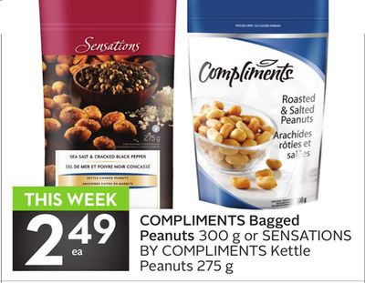 Compliments Bagged Peanuts 300 g or Sensations By Compliments Kettle Peanuts 275 g