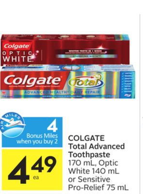Colgate total advanced toothpaste 4 on sale for Perfect bake pro system