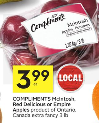 Compliments Mcintosh - Red Delicious or Empire Apples