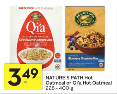 Nature's Path Hot Oatmeal or Qi'a Hot Oatmeal
