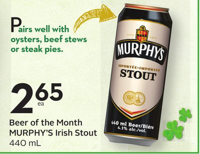 Beer of The Month Murphy's Irish Stout