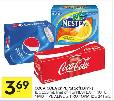 Coca-cola or Pepsi Soft Drinks 12 X 355 mL or Nestea - Minute Maid - Five Alive or Fruitopia 12 X 341 mL