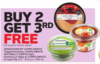 Sensations By Compliments Topped Hummus - Compliments Naturally Simple Dips - Hummus or Salsa or Compliments 6-layer Dip