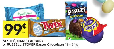 Nestlé - Mars - Cadbury or Russell Stover Easter Chocolates