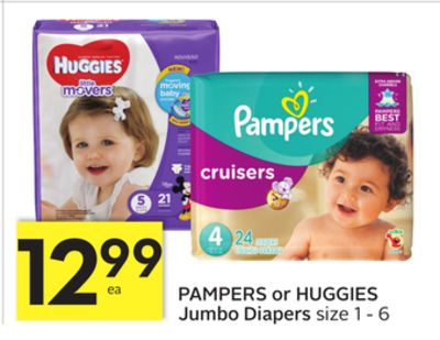 Pampers or Huggies Jumbo Diapers