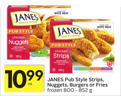 Janes Pub Style Strips - Nuggets - Burgers or Fries