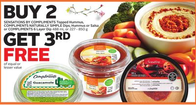 Sensations By Compliments Topped Hummus - Compliments Naturally Simple Dips - Hummus or Salsa or Compliments 6 Layer Dip